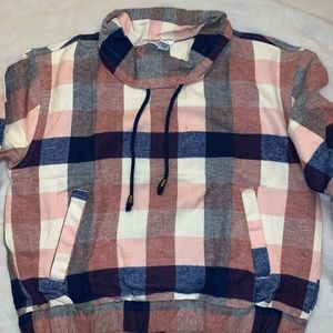 Plaid mock neck